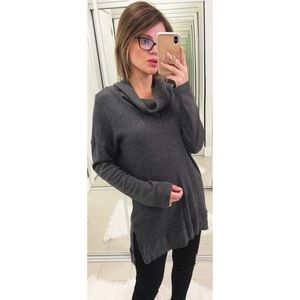 Splendid Thermal Cowl Neck Top in Charcoal